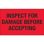 """Picture of 3"""" x 5"""" - """"Inspect For Damage Before Accepting"""" (Fluorescent Red) Labels"""