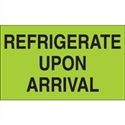 "Picture of 3"" x 5"" - ""Refrigerate Upon Arrival"" (Fluorescent Green) Labels"