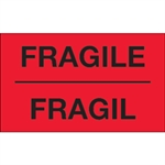 """Picture of 3"""" x 5"""" - """"Fragil"""" (Fluorescent Red) Bilingual Labels"""