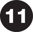 "Picture of 1"" Circle - ""11"" (Black) Number Labels"