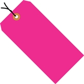 "Picture of 6 1/4"" x 3 1/8"" Fluorescent Pink 13 Pt. Shipping Tags - Pre-Strung"