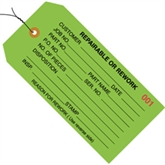 """Picture of 4 3/4"""" x 2 3/8"""" - """"Repairable or Rework"""" Inspection Tags - Pre-Wired"""