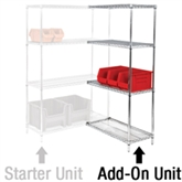"""Picture of 36"""" x 18"""" x 63"""" - 4 Shelf Wire Shelving Add-On Unit"""