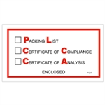 """Picture of 5 1/2"""" x 10"""" """"Packing List/Cert of Compliance/Cert. of Analysis Enclosed"""" Envelopes"""